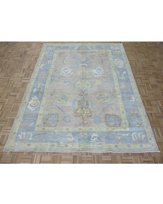 """Hand Knotted Beige Oushak with Wool Oriental Rug (7'11"""" x 10'1"""") - 7'11"""" x 10'1"""""""