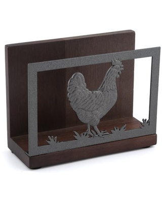 Acacia Wd Napkin Holder - Rooster