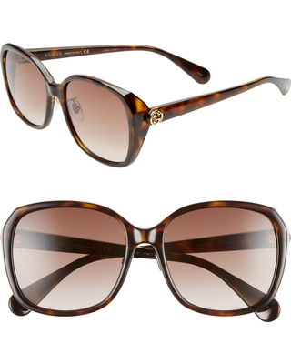 8e818c9792 Remarkable Deal on Women s Gucci 57Mm Square Sunglasses - Havana