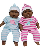 """JC Toys Twins 13"""" Realistic Soft Body Baby Dolls Berenguer Boutique   Twins Gift Set with Removable Outfits and Accessories   Pink and Blue   African American   Ages 2+"""
