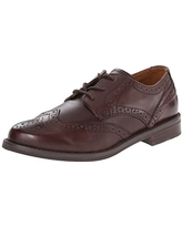 Polo Ralph Lauren Kids Wing Tip Oxford (Little Kid/Big Kid), Brown Burnished Leather, 5 M US Big Kid