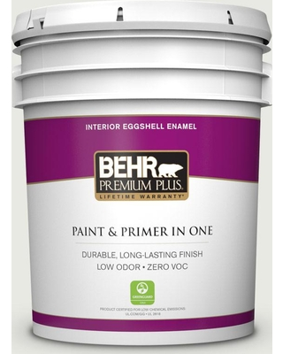 BEHR PREMIUM PLUS 5 gal. #GR-W07 Angel Feather Eggshell Enamel Low Odor Interior Paint and Primer in One