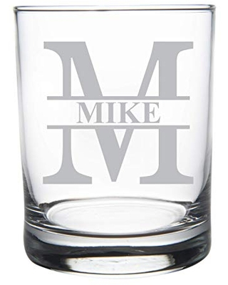 Personalized initial with name whiskey rocks glass, 11 oz. Groomsman gift-Wedding party gift