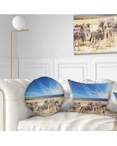 Amazing Deal On Designart Beautiful Herd Of Zebra On Bright Day African Wall Throw Pillow Rectangle 12 In X 20 In Medium