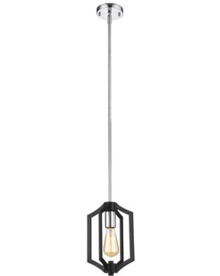 YS6904-1P-BK-CH 1-Light Single Pendant Lighting with Metal Materials and 60 Watts in Black and Chrome
