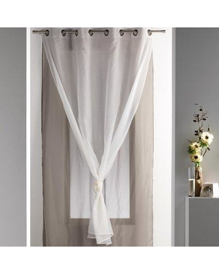 Evideco Robin Solid Sheer Grommet Single Curtain Panel ROB162 Curtain Color: Taupe / Ecru