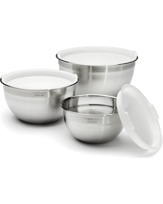 Cuisinart Set of 3 Stainless Steel Mixing Bowls with Lids - CTG-00-SMB