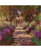'A Pathway in Monet' by Claude Monet Ready to Hang Canvas Wall Art, Multi-Colored