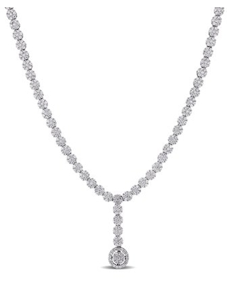 9-5/8 Carat T.G.W. Cubic Zirconia Sterling Silver Lariat Necklace