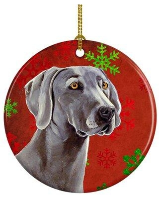 New Deal On The Holiday Aisle Weimaraner Snowflake Holiday Christmas Ceramic Hanging Figurine Ornament Ceramic Porcelain In Red Gray Size 3 H X 3 W Wayfair