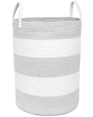 Taylor Madison Designs® Round Rope Striped Hamper in Grey/White