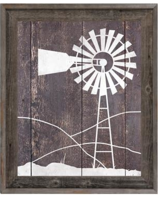 "Click Wall Art 'Windmill Among Hills' Framed Painting Print RAN0000057FR Size: 27.5"" H x 23.5"" W"
