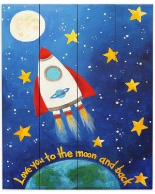 "DiaNocheDesigns Love You to the MoOn Rocket by nJoy Painting Print Plaque WPA-nJoyArtLoveyoutotheMoonRocket Size: 24"" H x 20"" W x 1"" D"