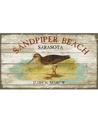 "Highland Dunes 'Sandpiper Beach' by Suzanne Nicholl Graphic Art Print on Wood HIDN6095 Size: 20"" H x 32"" W x 2"" D"