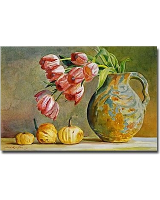 """Charlton Home 'Soft Tulips in the Pottery' Painting Print on Canvas CHRH7392 Size: 30"""" H x 47"""" W x 2"""" D"""