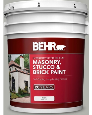 BEHR 5 gal. #BXC-25 Colonnade Gray Flat Interior/Exterior Masonry, Stucco and Brick Paint