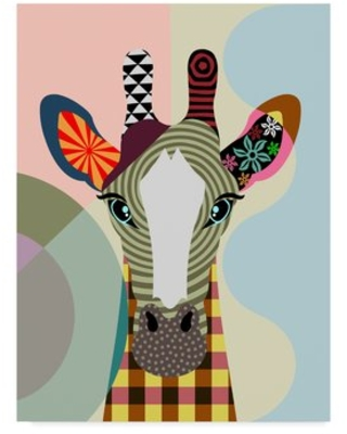 """'Stand Tall Giraffe' Graphic Art Print on Wrapped Canvas Trademark Fine Art Size: 32"""" H x 24"""" W x 2"""" D"""