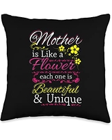Funny Sayings And Mother's Day Designs Like A Flower-Saying Mom-Mother's Day Throw Pillow, 16x16, Multicolor