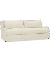 "Carlisle Slipcovered Sofa 80"" with Bench Cushion, Down Blend Wrapped Cushions, Premium Performance Basketweave Ivory"