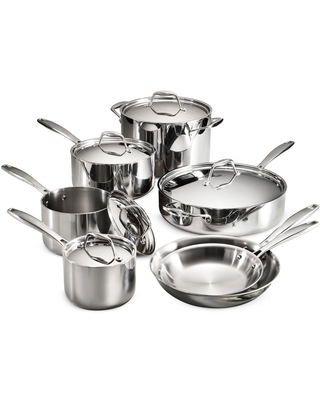 Tramontina Gourmet Tri-Ply Clad 12-Piece Stainless Steel Cookware Set, Silver