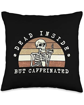 Caffeine Lovers Tee Shirt Co Funny Coffee lover Dead inside but caffeinated Throw Pillow, 16x16, Multicolor