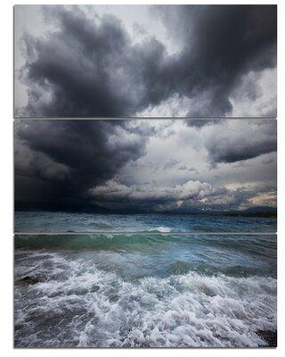 Design Art 'Troubled Sea under Stormy Sky' 3 Piece Photographic Print on Wrapped Canvas Set PT12440-3PV