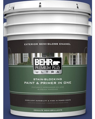 BEHR Premium Plus Ultra 5 gal. #T18-18 Constellation Blue Semi-Gloss Enamel Exterior Paint and Primer in One