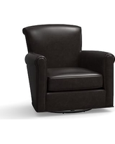 Irving Leather Swivel Glider, Polyester Wrapped Cushions, Leather Vintage Midnight