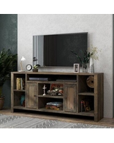 """Greyleigh™ Columbia TV Stand for TVs up to 85"""", Wood/Distressed Finish/Gloss Finish in Barnwood, Size 33""""H X 64""""-74""""W X 16""""D 