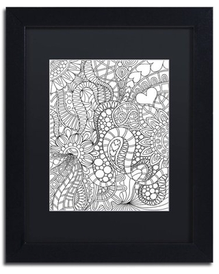 """Trademark Fine Art """"Mixed Coloring Book 62"""" Canvas Art by Kathy G. Ahrens, Black Matte, Black Frame"""
