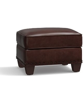 Irving Leather Storage Ottoman, Bronze Nailheads, Polyester Wrapped Cushions, Leather Statesville Espresso