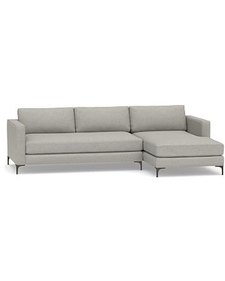 Jake Upholstered Left Arm 2-Piece Sectional with Chaise and Brushed Nickel Legs, Polyester Wrapped Cushions, Premium Performance Basketweave Light Gray
