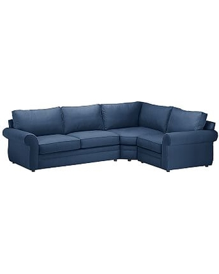 Pearce Roll Arm Upholstered Left Arm 3-Piece Wedge Sectional, Down Blend Wrapped Cushions, Performance Everydayvelvet(TM) Navy