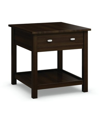 Carabus End Table With Drawer Caravel Color: Coffee