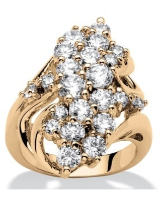 Yellow Gold-plated Cubic Zirconia Cluster Ring - White (8)