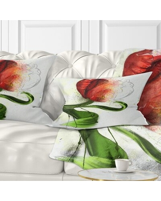 Floral Big Flower with Leaves Lumbar Pillow