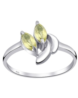 Multi Color Gemstones Sterling Silver Marquise Promise Ring by Orchid Jewelry (7 - Quartz)