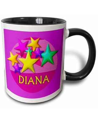 East Urban Home Vibrant Colo Stars on a Background with the Name Diana Coffee Mug W000313988 Color: Black