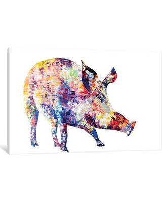 """East Urban Home Wild Boar Painting Print on Wrapped Canvas ESHM7402 Size: 12"""" H x 18"""" W x 0.75"""" D"""