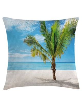 """Exotic Beach with Tree in Saona Island Sunny Summer Day Seaside Indoor / Outdoor 26"""" Throw Pillow Cover East Urban Home"""