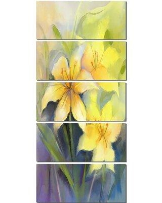 Design Art 'Watercolor Painting Yellow Lily Flower' 5 Piece Painting Print on Wrapped Canvas Set PT14108-401V