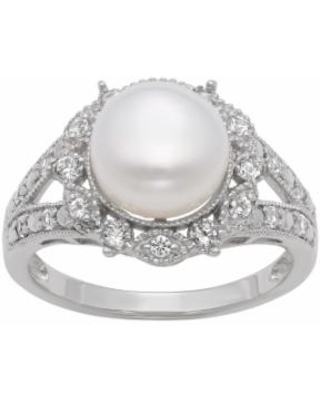 Sterling Silver Freshwater Cultured Pearl and Lab-Created White Sapphire Ring, Women's, Size: 4