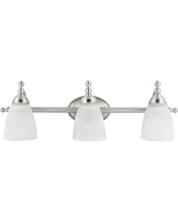 Globe Electric Diana 3-Light Exclusive Vanity Fixture, Satin Nickel Finish, Alabaster Glass Shades, 50783