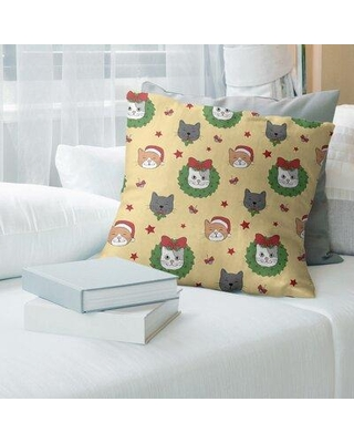 """East Urban Home Holiday Patterns Christmas Cats Pillow Cover EBMQ4251 Size: 14"""" x 14"""" Color: Yellow with Red Glitter"""