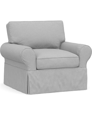 PB Basic Slipcovered Armchair, Polyester Wrapped Cushions, Brushed Crossweave Light Gray