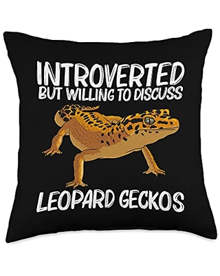 Cute Tiny Dinosaur Reptile Gecko Animals Designs Cool Leopard Gift for Men Women Panther Gecko Lovers Throw Pillow, 18x18, Multicolor
