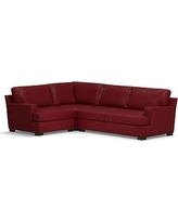 Townsend Square Arm Leather Right Arm 3-Piece Corner Sectional, Polyester Wrapped Cushions, Leather Signature Berry Red