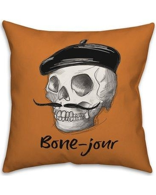 Remarkable Deals On The Holiday Aisle Jerome Bone Jour Skull Sketch Throw Pillow Polyester Polyfill Polyester Polyester Blend In Orange Size 18x18 Wayfair