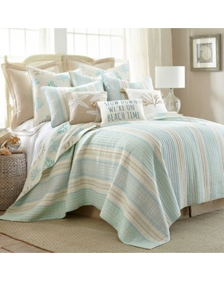Levtex Home Kapalua Bay Reversible King Quilt in Blue/Taupe