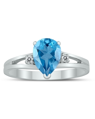 8X6MM Blue Topaz and Diamond Pear Shaped Open Three Stone Ring in 10K White Gold (8)